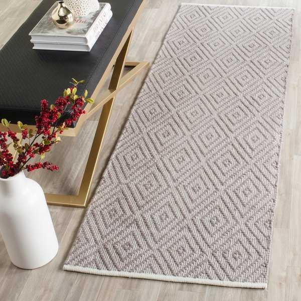 Safavieh Montauk Hand-Woven Flatweave Grey/ Ivory Diamond Cotton Rug - 2'3' x 7'