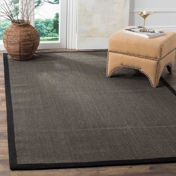 Safavieh Casual Natural Fiber Charcoal and Charcoal Border Sisal Rug - 4' x 6'