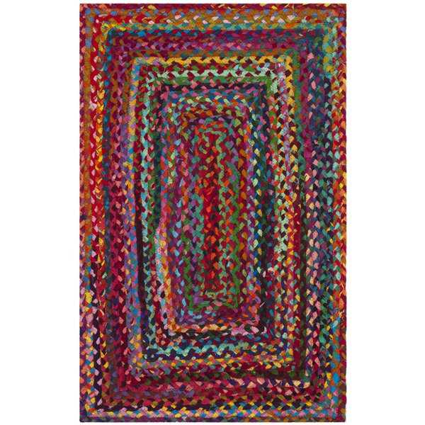 Safavieh Hand-woven Reversible Braided Red/ Multi Cotton Rug - 2'6' x 4'