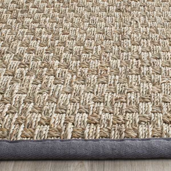 Safavieh Casual Natural Fiber Hand-Woven Natural / Dark Grey Seagrass Rug - 2'6' x 4'