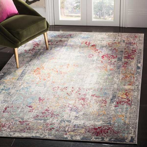 Safavieh Mystique Watercolor Grey Multi Silky Rug - 5' x 8'