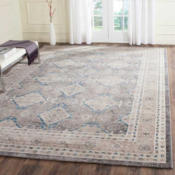 Safavieh Sofia Vintage Diamond Light Grey / Beige Distressed Rug - 9' x 12'