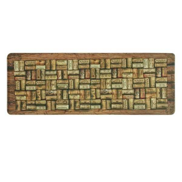 Printed memory foam Wine Corks kitchen runner by Bacova - Beige/Light Brown - 1'11' x 3'11'
