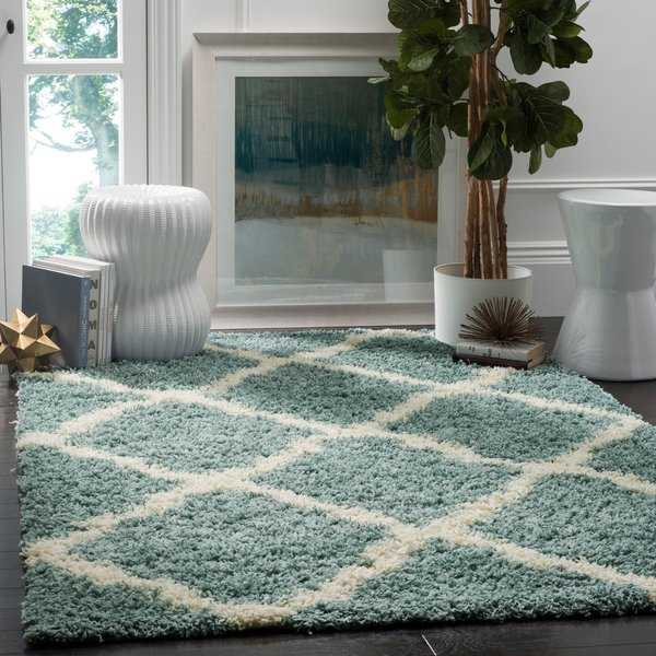 Safavieh Dallas Shag Light Blue/ Ivory Trellis Rug - 5'1' x 7'6'